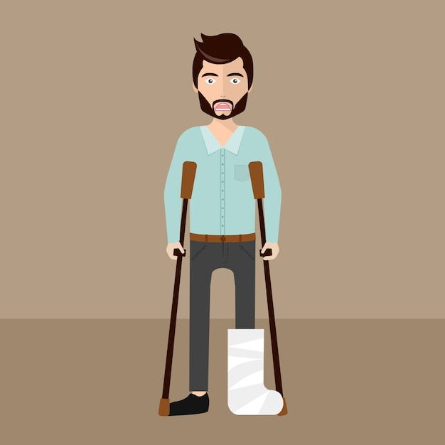 Wounded man with crutches Free Vector