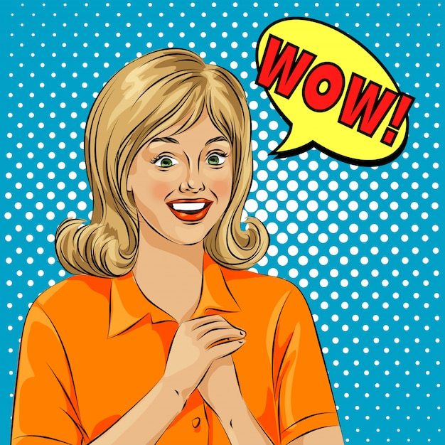 Wow bubble pop art surprised woman face Premium Vector