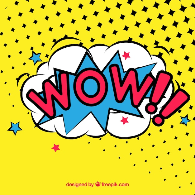 Wow comic style Free Vector