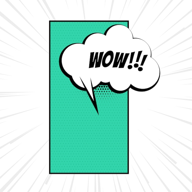 Wow expression with comic chat bubble cloud Free Vector