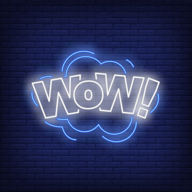 Wow lettering neon sign Free Vector