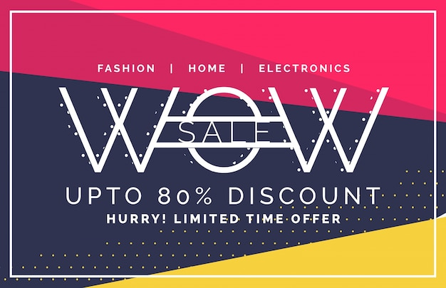 Wow sale and discount voucher Free Vector