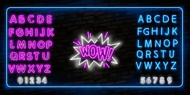 Wowneon знак Premium векторы