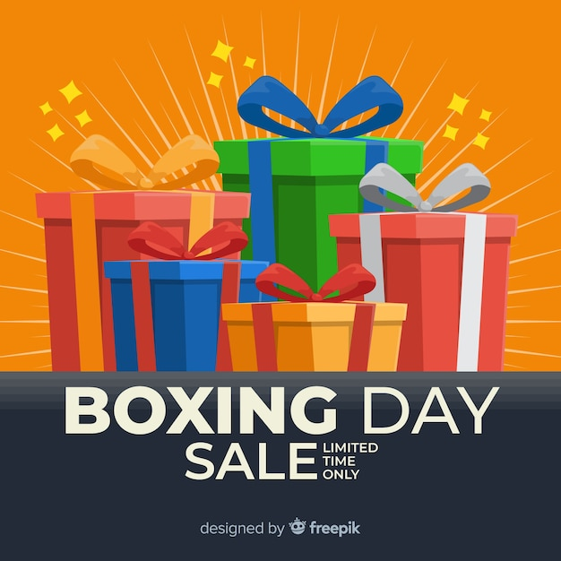 Wrapped gift boxes and ribbon on boxing day Free Vector