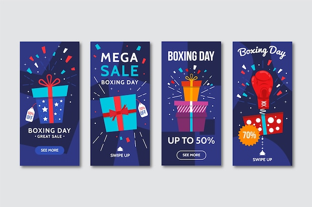 Wrapped gifts instagram stories for boxing day Free Vector