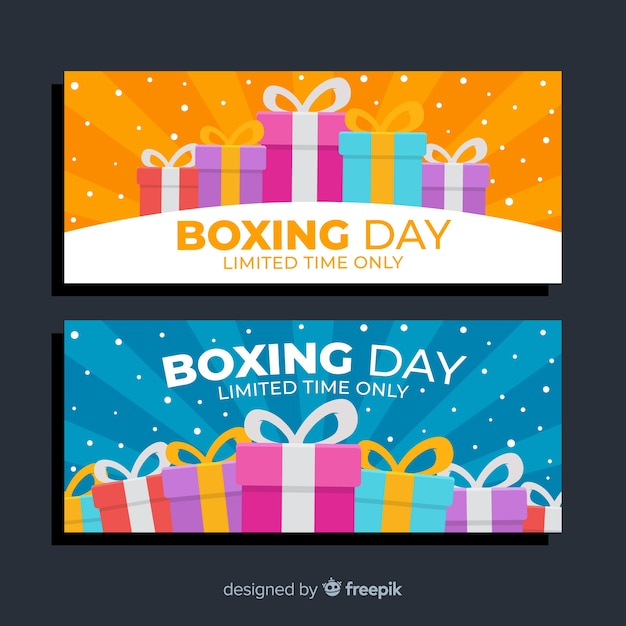 Wrapped present boxes for boxing day sale Free Vector