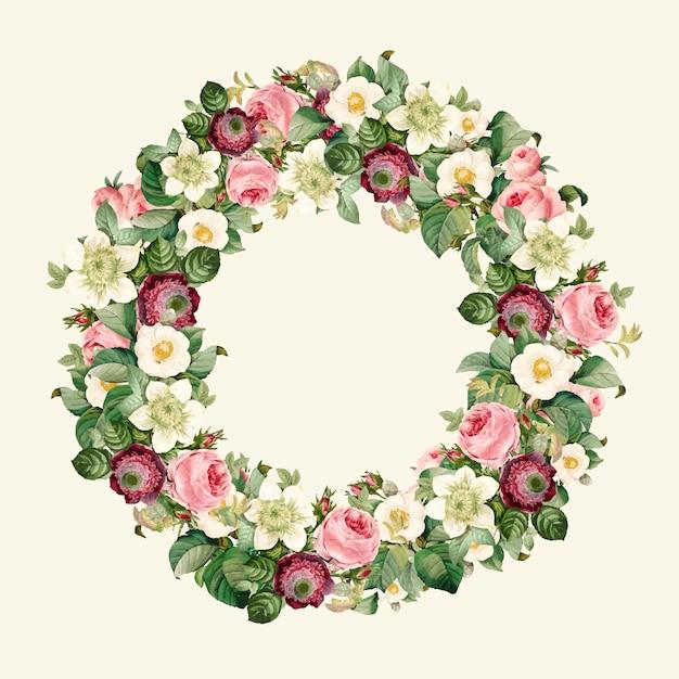 Wreath of beautiful blooming wildflowers Free Vector