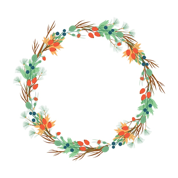 Wreath of berries and needles. new year or autumn wreath Free Vector