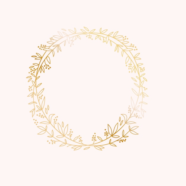 Wreath border frame. wedding marriage event invitation card template. Premium Vector