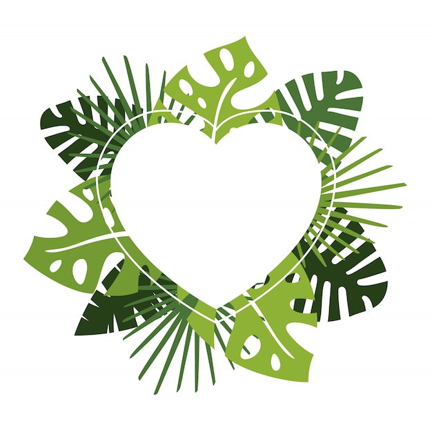 Wreath or circular garland with green tropical leaves and copyspace heart Premium Vector