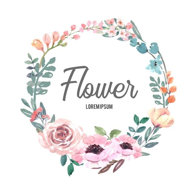 Wreath for creative artwork, pastel line flowers Free Vector