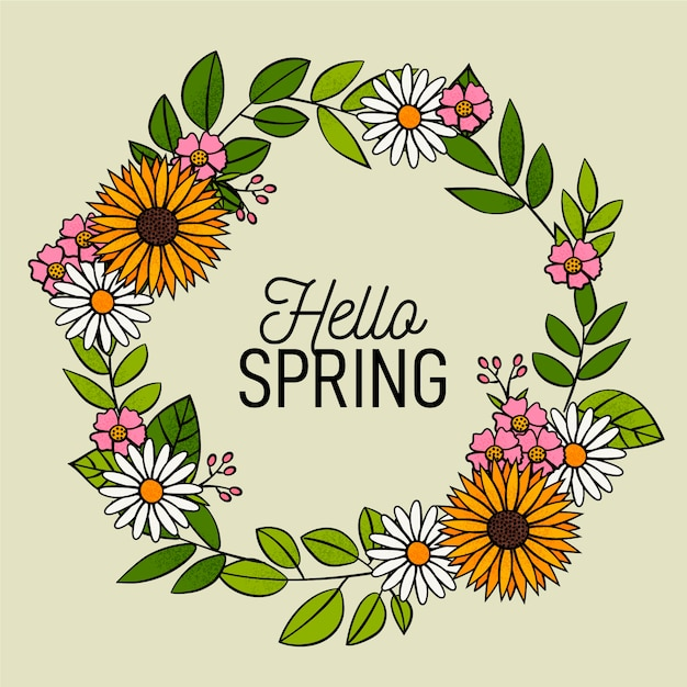 Wreath of flowers and spring is here Free Vector