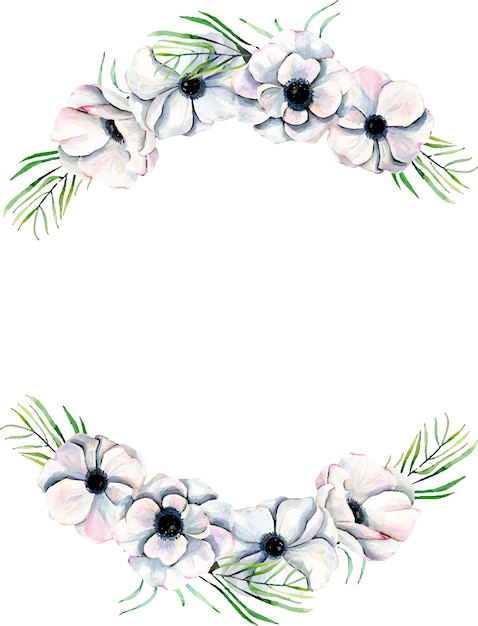 Wreath,  frame border with watercolor anemones and branches Premium Vector