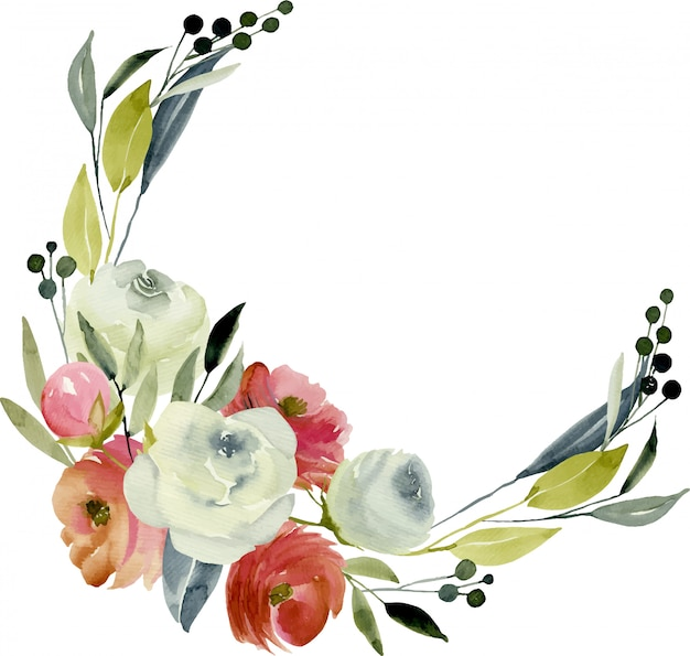 Wreath, frame border with watercolor burgundy and white roses Premium Vector