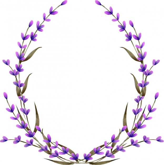 Wreath, frame border with watercolor lavender flowers Premium Vector