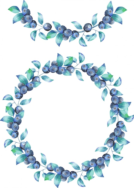 Wreath and garland of the watercolor blueberry branches Premium Vector