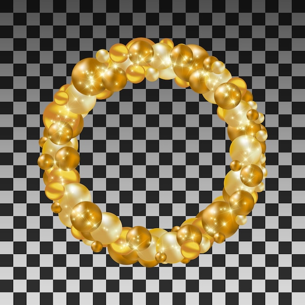 Wreath of golden balls on a transparent background Premium Vector