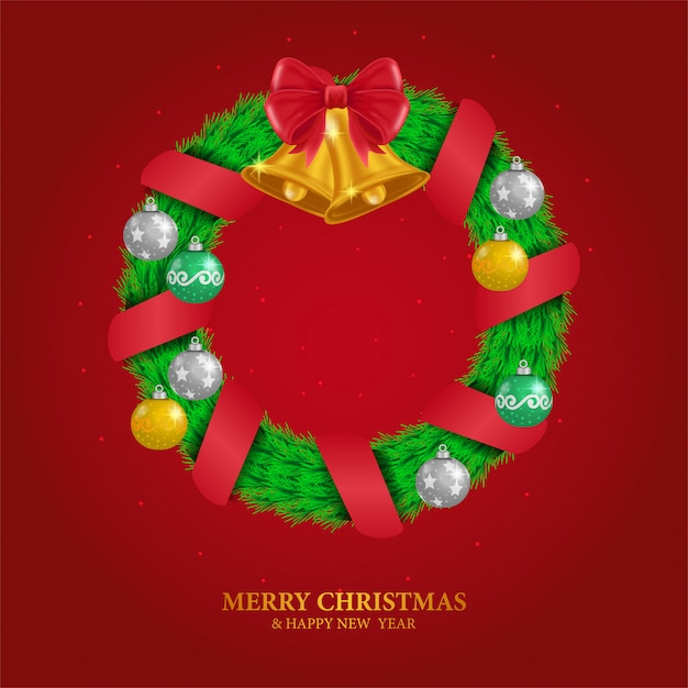 Wreath leaves decoration with ball and bell for christmas Premium Vector