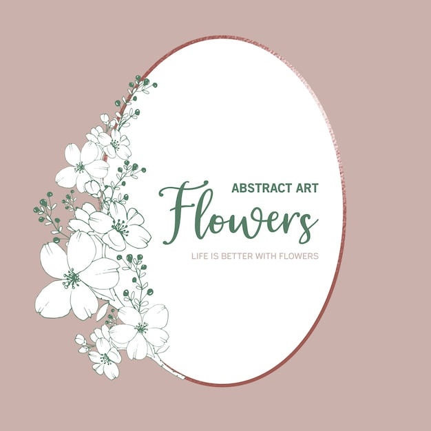 Wreath of line flowers and leaves  drawing style Free Vector
