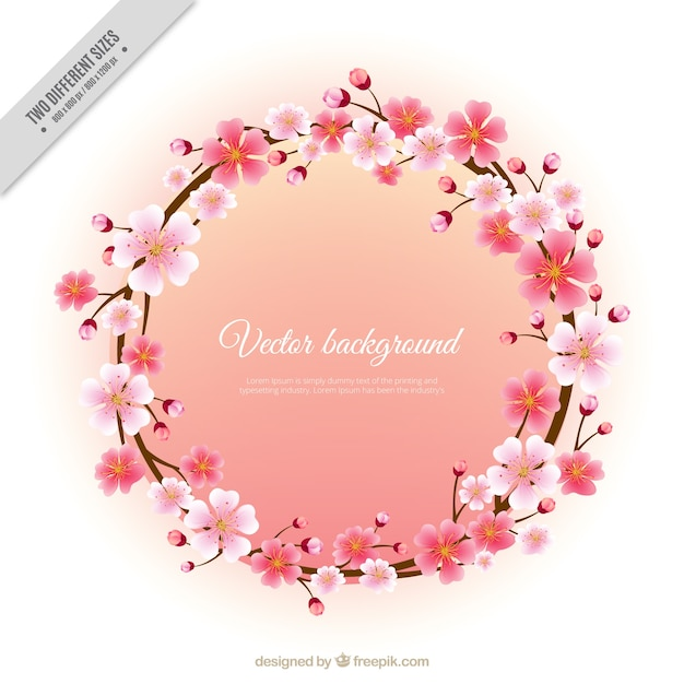 Wreath of cherry blossoms Free Vector