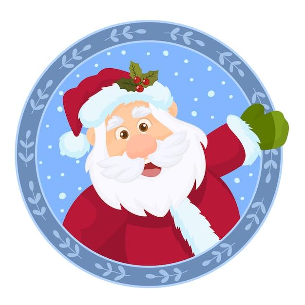 Рождественский венок с дедом морозом Premium векторы