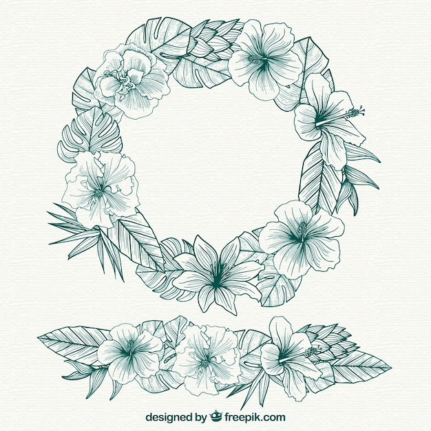 wreath of flower sketches and ornaments stock images page everypixel