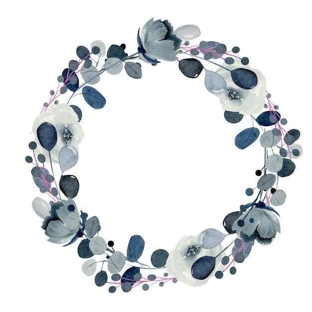 Венок из акварельных роз индиго и других цветов и растений Premium векторы