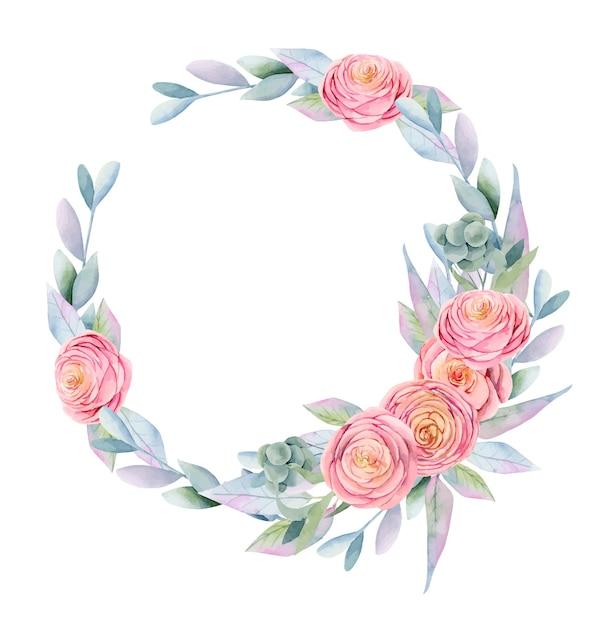 Венок из акварельных розовых красивых роз, зеленых листьев, ягод и веток Premium векторы