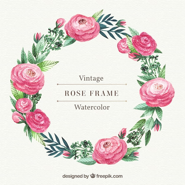 Wreath of roses and watercolor leaves Free Vector