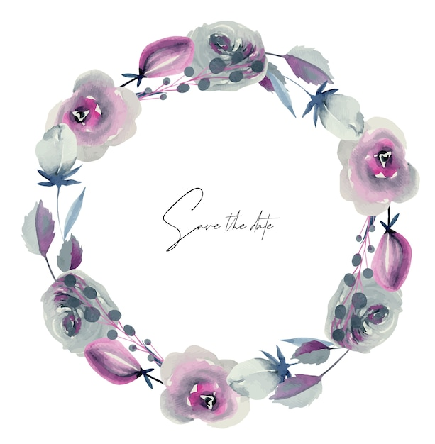 Wreath of watercolor indigo and crimson roses and other flowers and plants Premium Vector