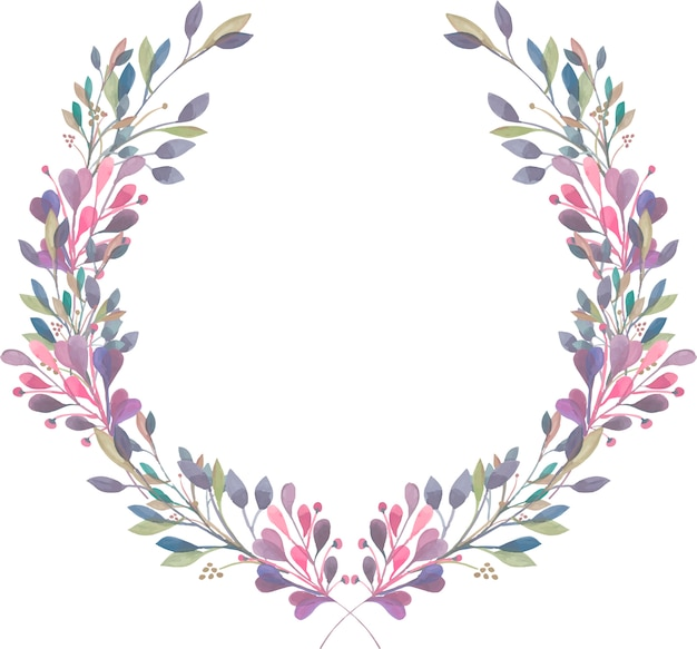 Wreath of watercolor purple, pink and green branches Premium Vector