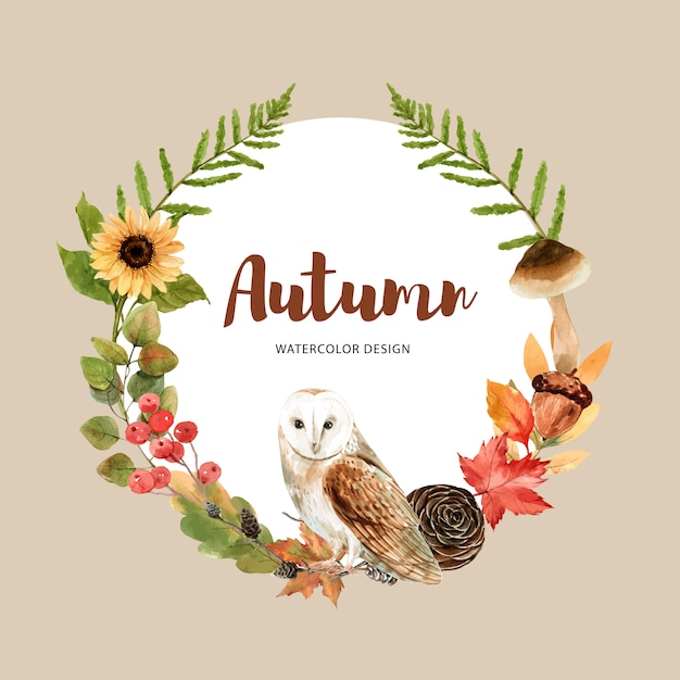 Wreath with autumn theme Free Vector