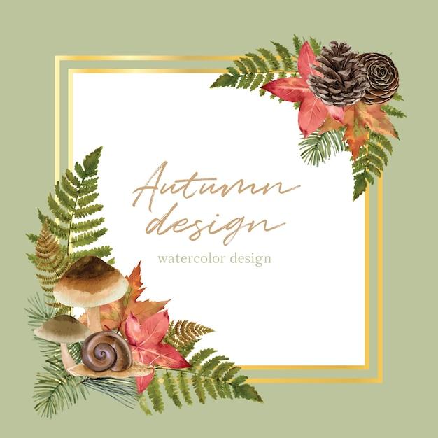 Wreath with autumn theme Free Vector