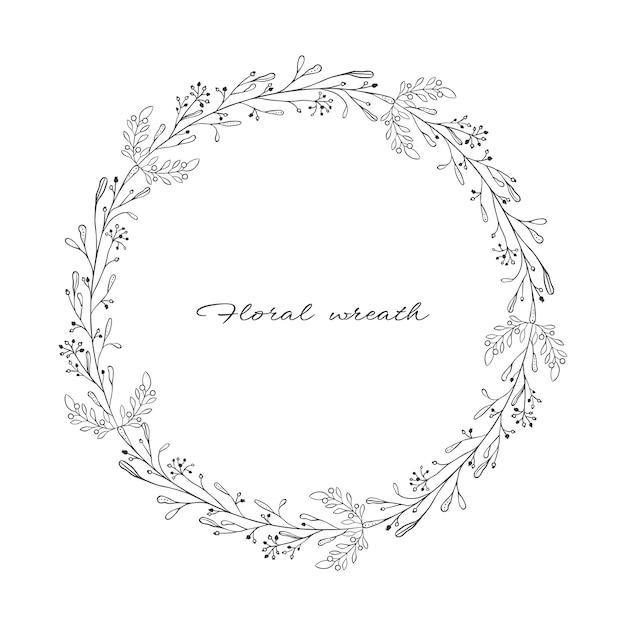 Wreath with branches and twigs Premium Vector