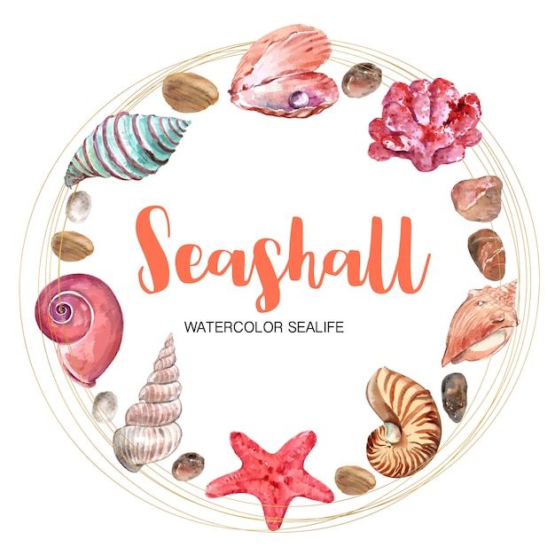 Wreath with circular frame, watercolor element illustration template Free Vector