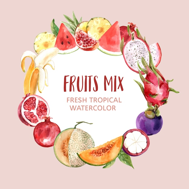 Wreath with fruits theme, various fruits watercolor illustration. Free Vector