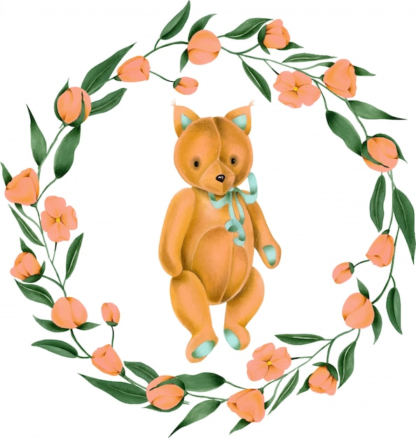 Wreath with hand-painted soft plush toy fox and pink flowers Premium Vector