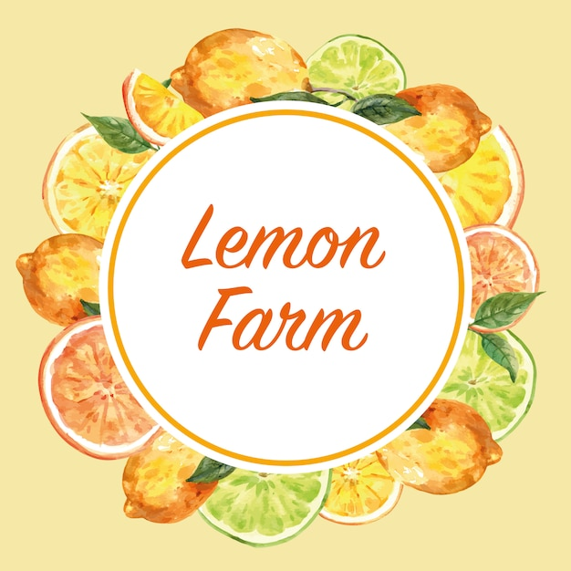 Wreath with lemon frame, creative yellow color illustration template Free Vector