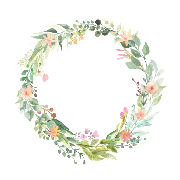 Wreath with pink flower bouquets. Premium Vector