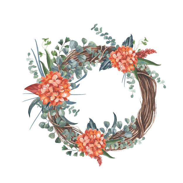 Wreath with red flower bouquet. Premium Vector