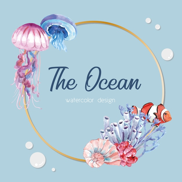 Wreath with sealife theme, light blue illustration template Free Vector
