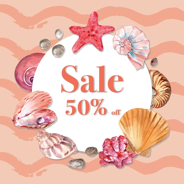 Wreath with simple sealife theme, watercolor element illustration template Free Vector