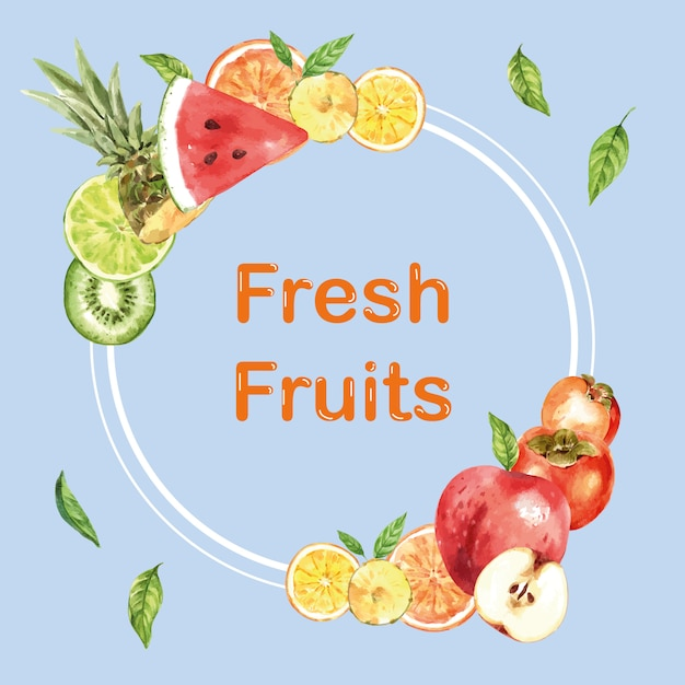 Wreath with various fruits, creative watercolor illustration template Free Vector