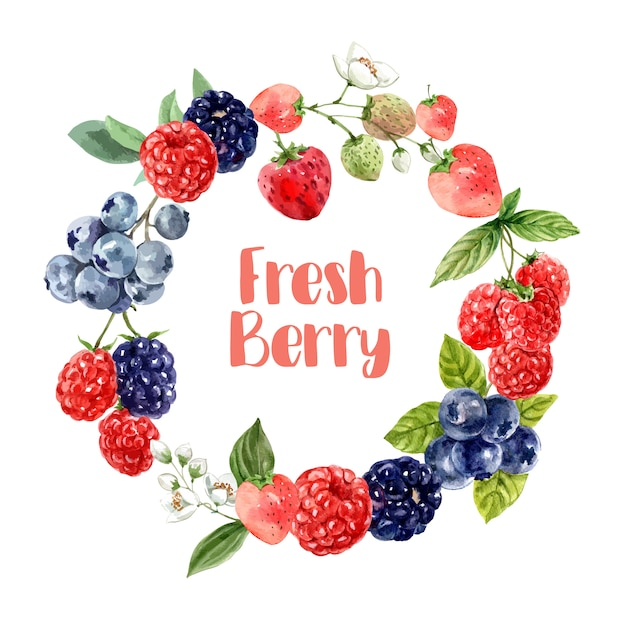Wreath with various mixberry fruits, vibrant color illustration template Free Vector