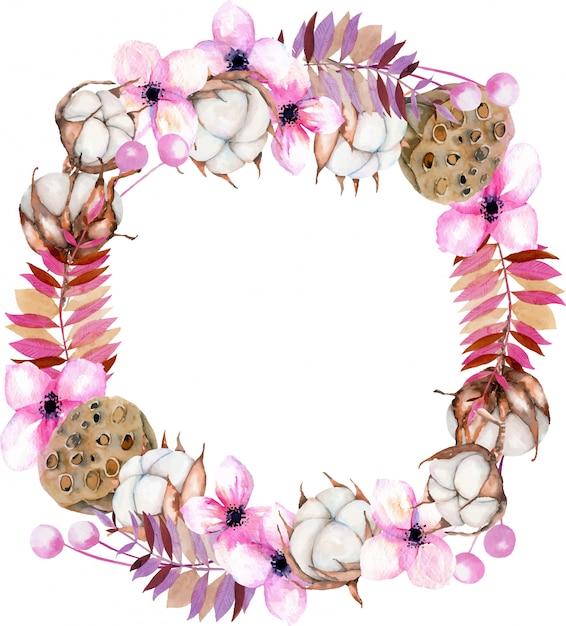 水彩の綿の花、ピンクの花柄、蓮の箱の花輪 Premiumベクター