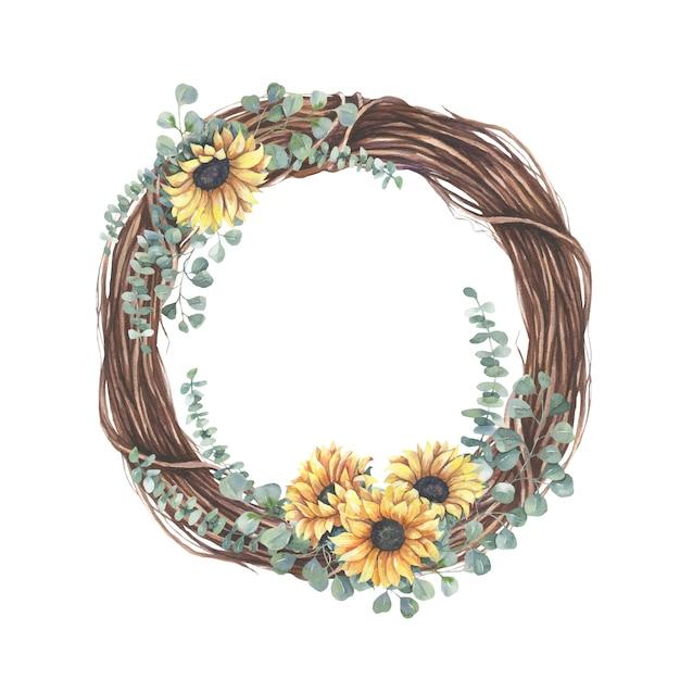 Wreath with yellow  sunflower bouquet. Premium Vector