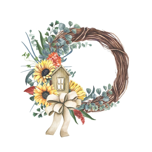 Wreath with yellow  sunflower bouquet. Premium Vector