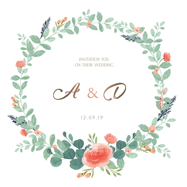 Wreaths hand painted with text frame border Premium Vector