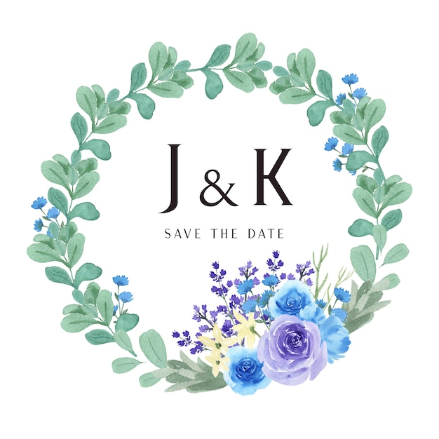 Wreaths watercolor flowers hand painted with text  frame Premium Vector