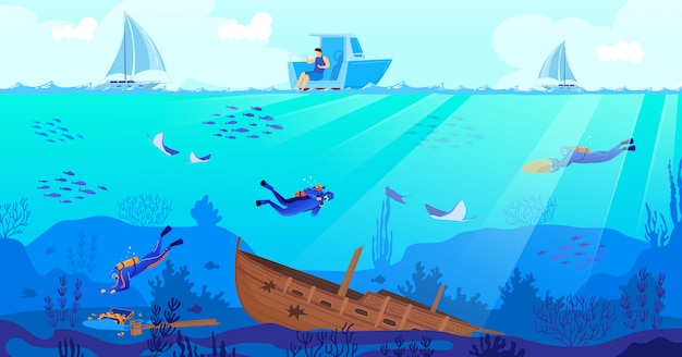 Wreck diving vector illustration. Premium Vector